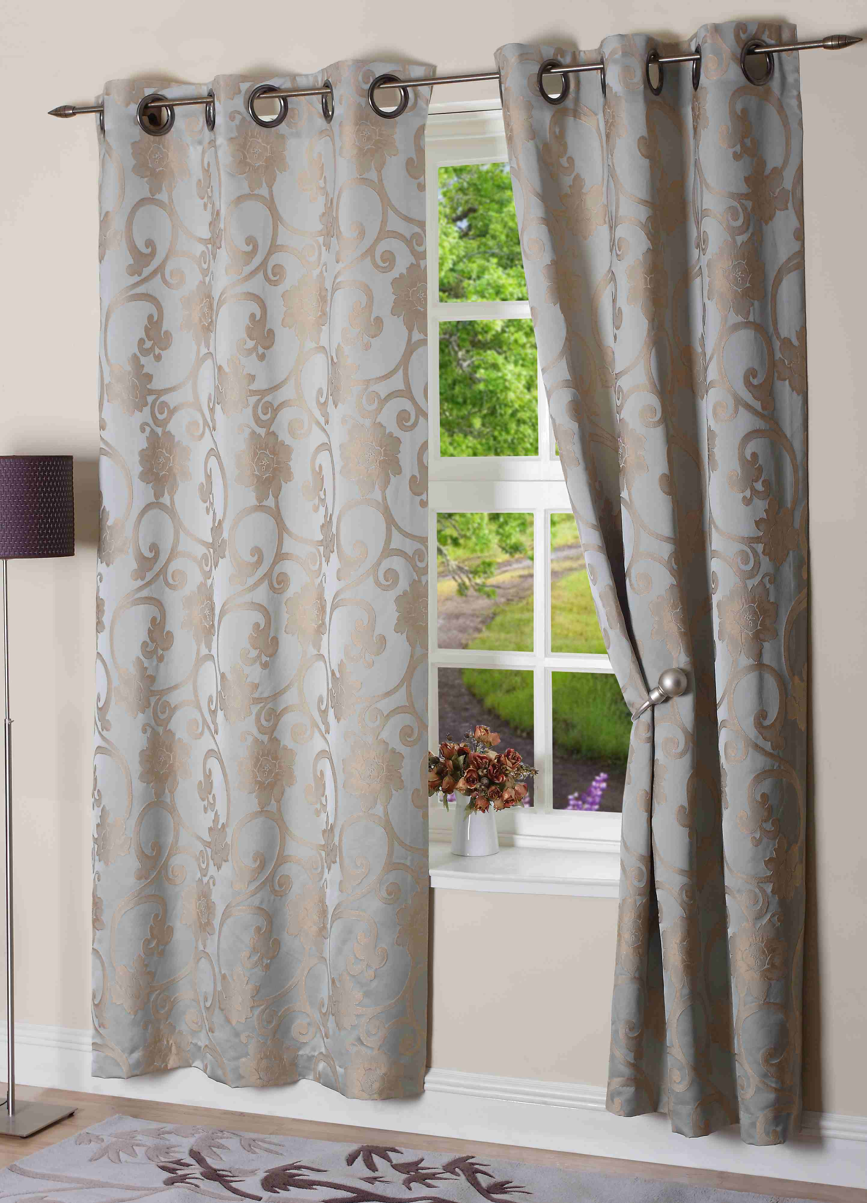 ready fully curtains pleat curtain grey pair blue natural itm lined made pencil blackout