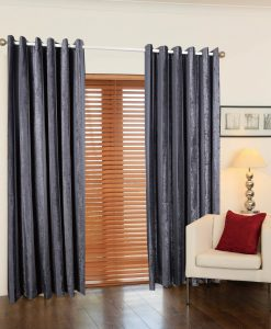 Juliet Stripe Ready Made Curtains Pewter