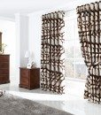 London Leaf - Chocolate Ready Made Curtains