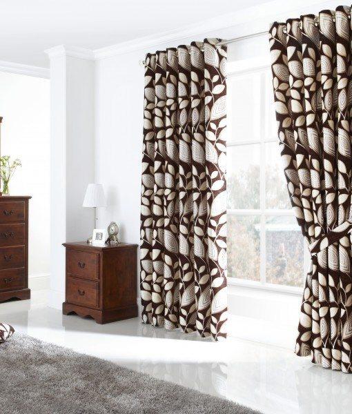London Leaf - Chocolate Ready Made Curtains