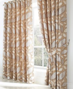 London Leaf - Cream Ready Made Curtains