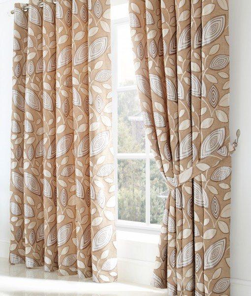 London Leaf - Cream Ready Made Curtains