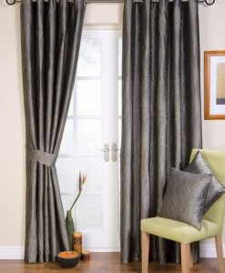 Ripple Ready Made Curtains Silver