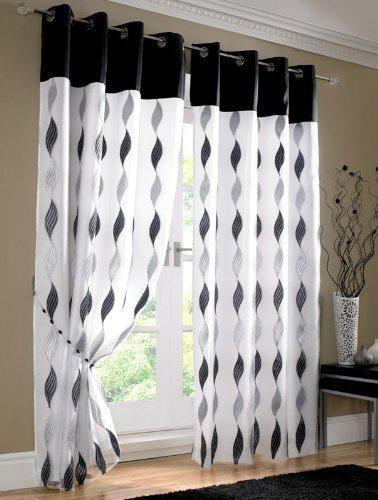 Waves - Readymade Curtains - Black