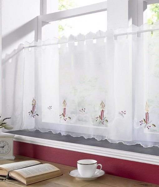 Christmas Candles - White Voile Cafe Net