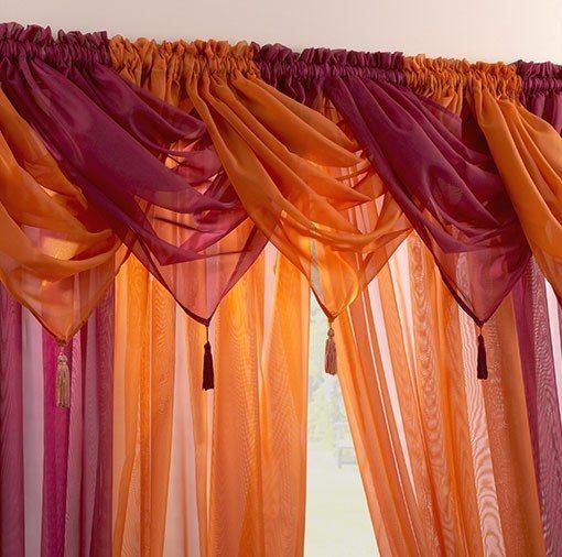Voile Swag Nets - Maroon or Orange