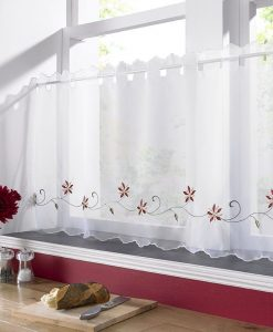 Christmas Poinsettia - White Voile Cafe Net