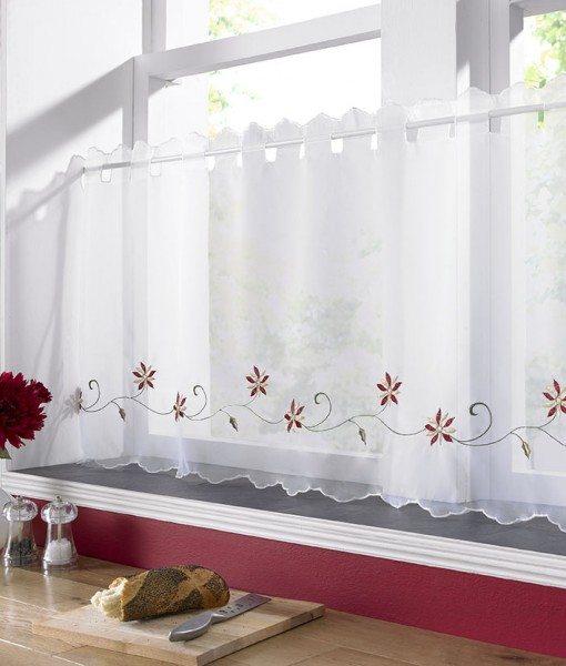Christmas Poinsettia - White Voile Cafe Net