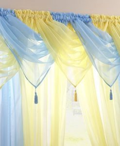 Voile Swag Nets - Skyblue and Sunshine