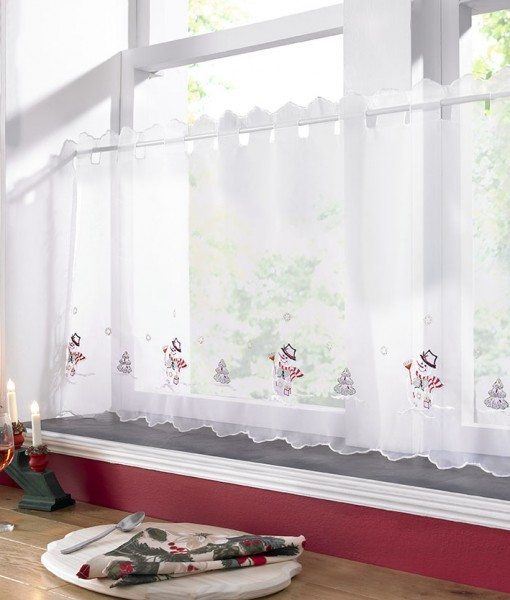 Christmas Snowman - White Voile Cafe Net