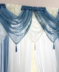 Voile Swag Nets - Teal and Cream