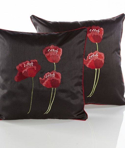 Poppies - Black Cushion Covers