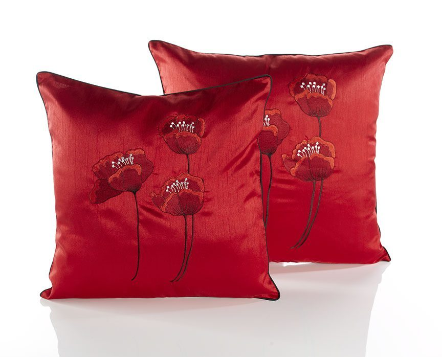 Poppies red cushion covers dublin ireland for Sofa cushion covers ireland