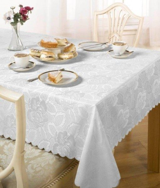 Damask Rose - Tablecloth - White