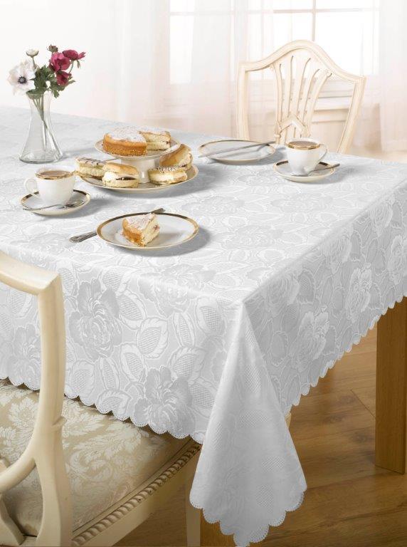 Damask Rose White Tablecloth Dublin Ireland