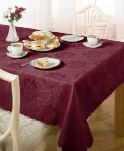 Damask Rose - Tablecloth - Wine