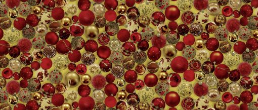 Oil Cloth - Baubles Red