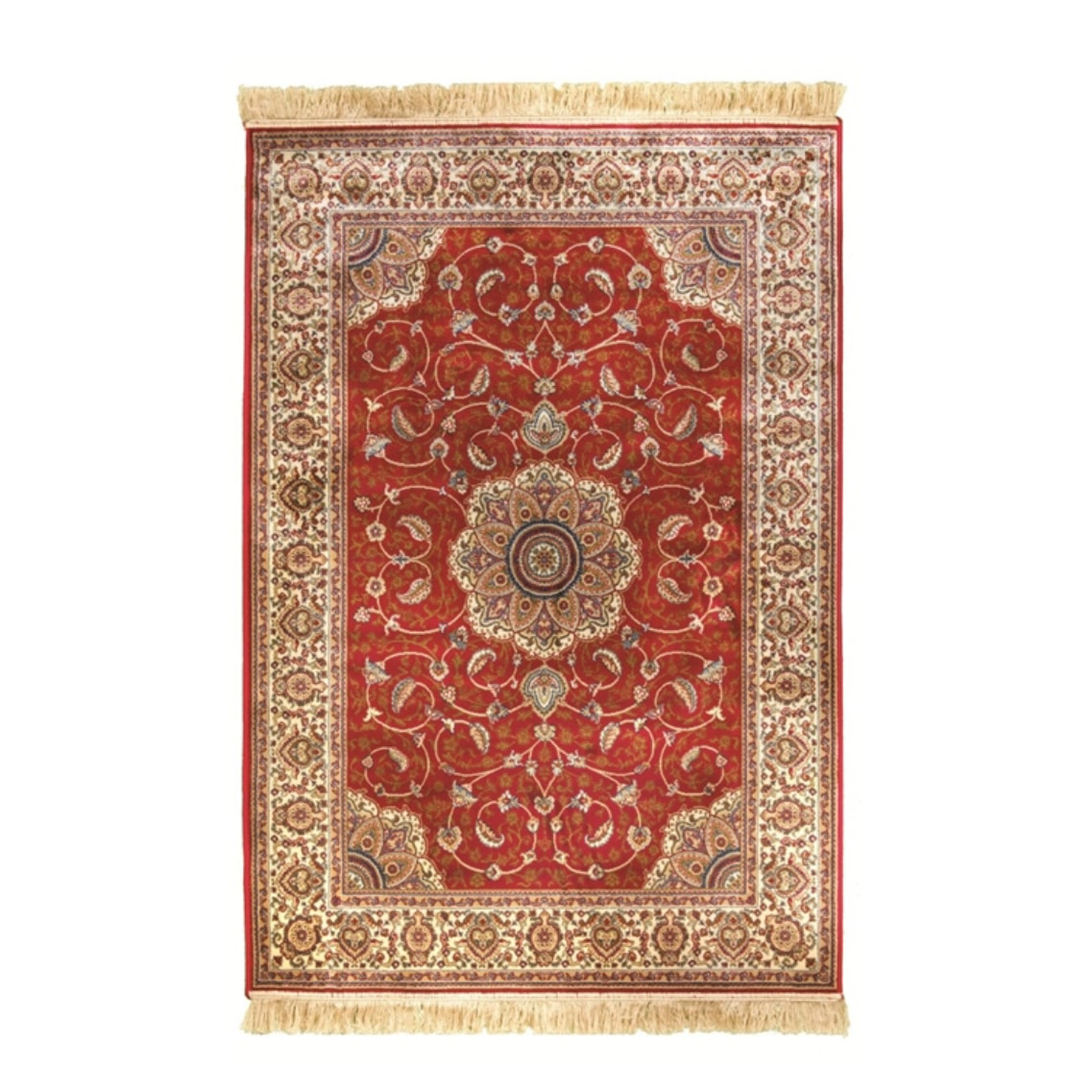 Kashmir Traditional Rug Red Cream Design Duffys